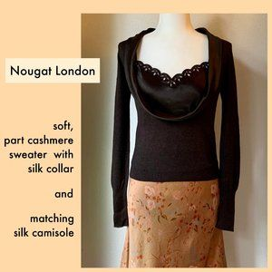 NEVER WORN Nougat London silk camisole and silk collared sweater set